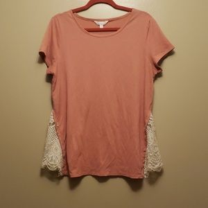 LC coral top with lace slits ribbon was removed